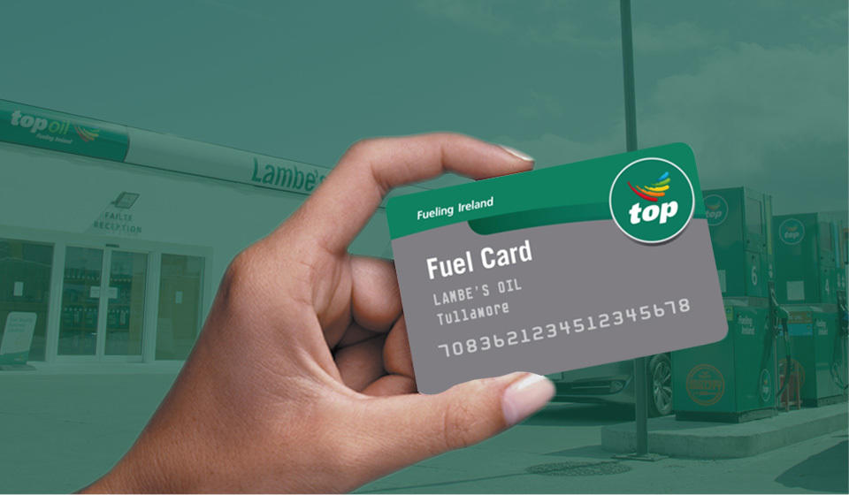 Customer holding a Lambes Oil fuel card