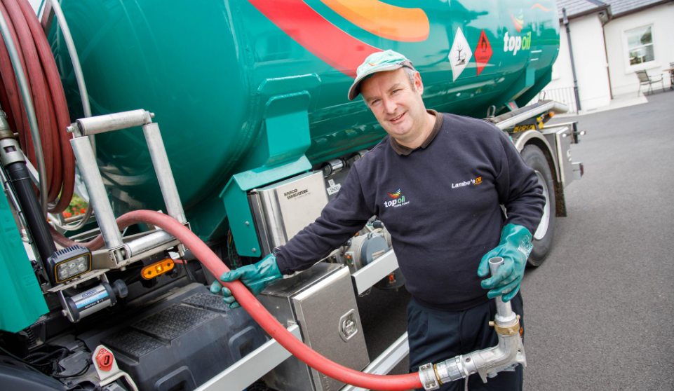 Lambes Oil driver Enda getting ready to deliver home heating oil